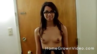 Ache haired Latina brunette fucks doggy style in glasses