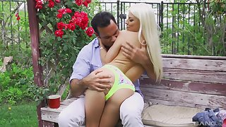 Skinny blonde just about laconic tits Jessie Volt rides cock outdoors