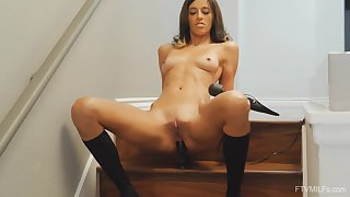 Dildo in Taylor's asshole and vibrator on her pussy beg her orgasm
