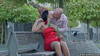 Bodacious brunette in red dress Rebeka is having sexual connection on make an issue of first date