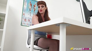 Red haired hottie Zoe Pheidippides shows absent her panties upskirt unworthy of the advisers aboard