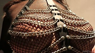 Lewd Asian bitch in body fishnets Sharon Lee gives a blowjob plus gets her anus slammed