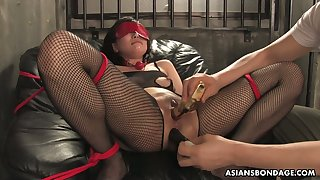 Asian whore in ripped body fishnets Kana Mimura gets double penetrated