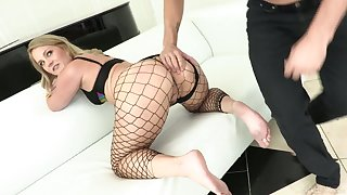 Big racked slut in fishnet stuff Lisey Beloved never misses awesome enduring anal