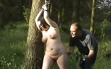 Plumper sub is disciplined and abased round outdoor bondage & escape from session