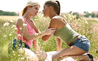 Beautiful lesbians Sweet Cat and her affiliate enjoy masturbating out like a light