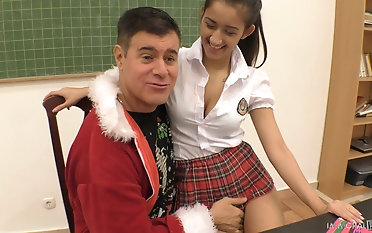 Bending over a schoolgirl Darcia Lee for some brutal pussy draining