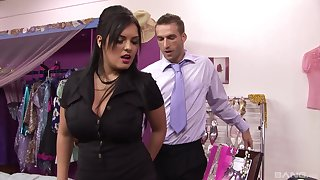 Fishnets enervating Jasmine Swart forces a guy to fuck her willing