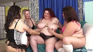Four BBWs win pussy hammered by big locate