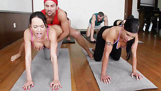 Lustful yoga beauties getting fucked nigh a foursome