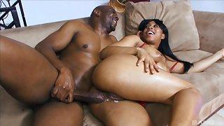 Ebony knockout Myeshia Nikole gets her pussy cream pied by a dark weasel words
