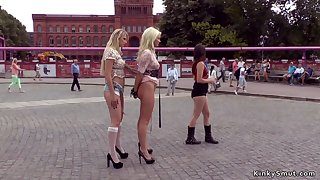 Blond Hair Tot Euro slaves ass fuck getting laid in public