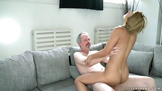 Pigtailed 18 year age-old rides an age-old mans dick