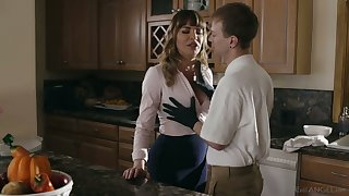 Gorgeous mommy Dana DeArmond bangs her stepson and give shim a of the first water BJ