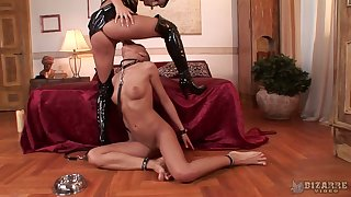 Bald fated botch does everything Czech mistress Lucy Belle desires