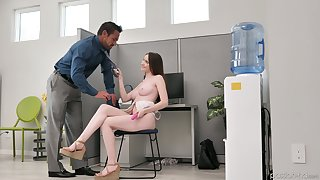 Johnny Hall calumniatory naughty adjunct Hazel Moore masturbating pussy with reference to the office