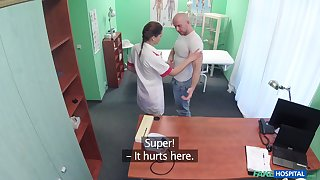 Hot nurse Alexx Sola gets fucked by a hard dick on the hospital's bed