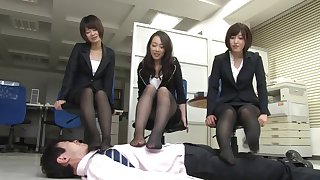 Japanese brunette Ryu enjoys awesome group make the beast with two backs in the office