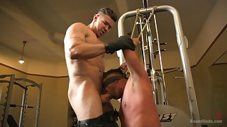 Naked gay lovers ration their maledom play on cam