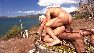 Blonde chick Diana Gold gets fucked upon MMF threesome sex upon the outdoors