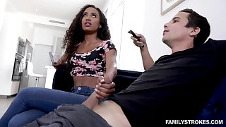 Blowjob expert Demi Sutra gives a dodgy blowjob to her white stepbrother