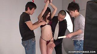 Three Japanese dudes fuck confined far porn model Kurara Makise