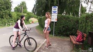 Svelte really horny Lexi Rain turns bike recreation into lesbian making love minus