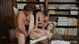 Hot FFM threesome in the library anent Reagan Foxx with the addition of Mackenzie Moss