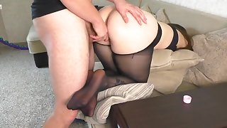 Teen Instructor Bus after Work gave her Big Botheration on touching Pantyhose