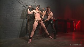 Gagged gay lover leaves his male specialist wide go potent mode on him