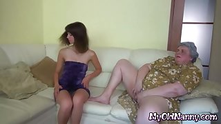 Supersized Big Beautiful Woman nanny in lesbo action with bony young cutie