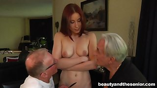 Young redhead slut drops in the sky her knees to divert two old dicks