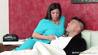 Nurse Alexa Pierce in sexy uniform sucks a dick and rides him hard