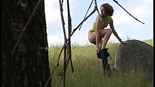 Svelte nympho with tight tits pulls her panties down to pee outdoors