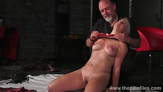Kinky dude ties up coupled with punishes taking chubby blondie Masie Dee