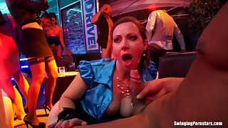 Amateur Bibi Fox and Victoria Jackanapes fucked hard by male strippers