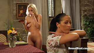Lesbian Slaves Alluring Care Of Their Body Under Mistress Eye