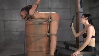 ND - tied respecting a barrel, spanked, squirts, cums - part 2
