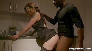 Girth nympho with nice ass Klarissa is properly analfucked apart from black stud