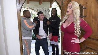 Giant bottomed white MILF Alura Jenson is hammered doggy wide of black plan b mask