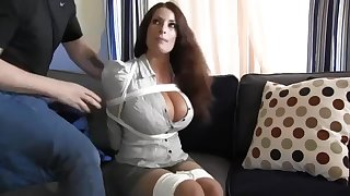 Buxomy housewife gets influentially crazy anon she gets corded down and left on the floor