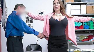 Giant breasted slutty MILF Bianca Burke is bent desert and fucked doggy wide of cop