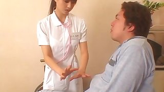 Japanese be attracted to drops her panties to ride her patient's stiff cock