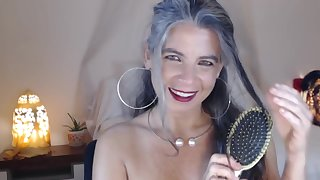 Domineer Granny shows her body on webcam