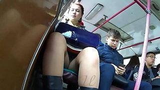 Hidden cam, upskirt on a difficulty bus