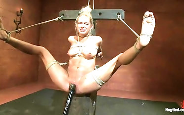 Fine-looking Rain Degre in real BDSM action