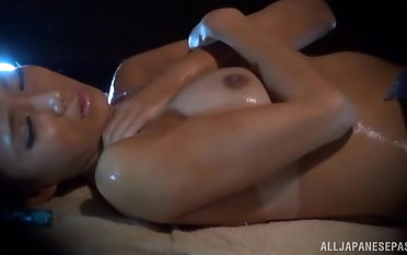 Oiled hottie finally gets to slurp on a long delicious dick